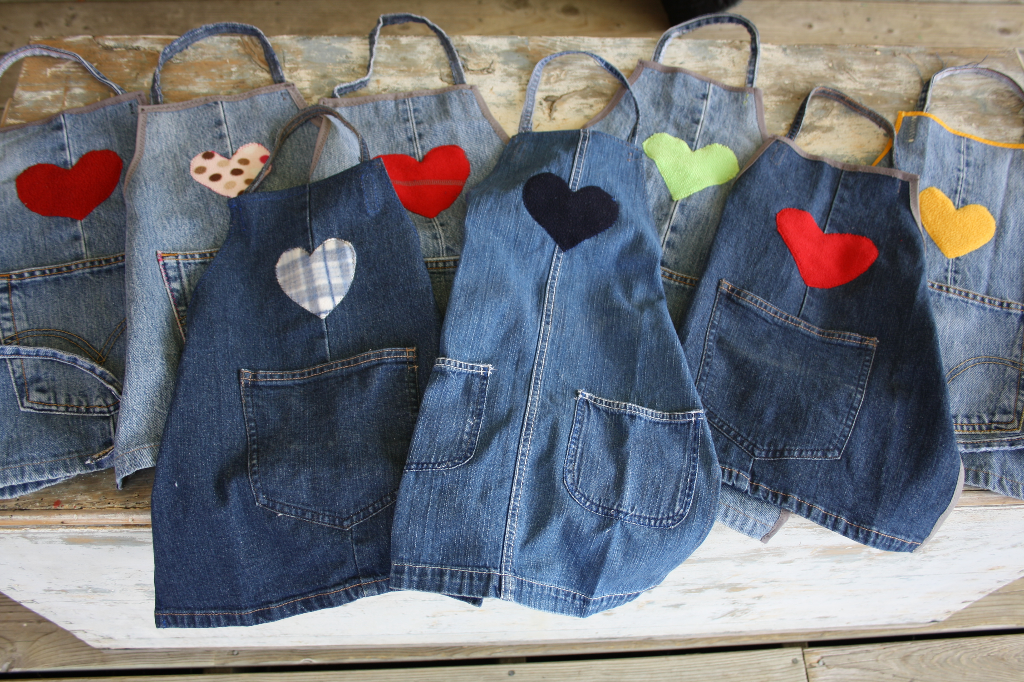Upcycled jean Aprons